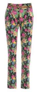 NEW WOMENS LADIES FLORAL PRINT BELTED SAFARI STYLE TROUSER JEANS UK