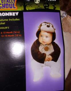 Monkey Dog Jacket Halloween Costume 12 18 Months NWT