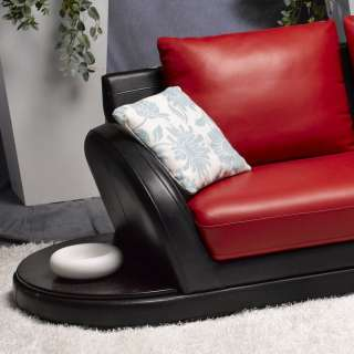Red / Black Sectional Soft Leather Couch Modern 2 Color Sofa