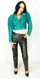 SEXY VINTAGE 80s Green NORTH BEACH LEATHER Michael Hoban Cropped