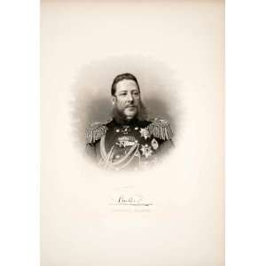 1879 Steel Engraving Admiral Crabbe Portrait Uniform Navy