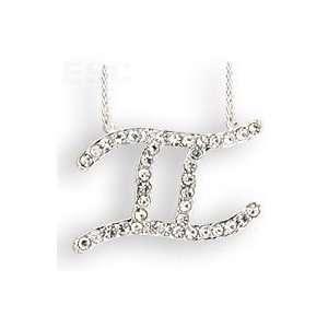 Silver Plated Crystal Gemini Zodiac Necklace SZ 18 Jewelry