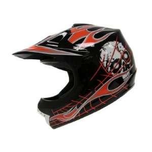 Youth Black Red Skull Flame Dirt Bike Atv Motocross Off