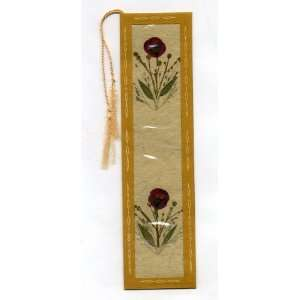 Bookmark with Silk Tassel   Pressed Flowers on Recycled Handmade Paper