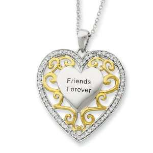 Silver Friends Forever Heart with Gold Plating and CZ 18 Inch Necklace