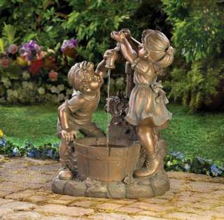 Children Fun And Play Bronze Look Outdoor Garden Decor Electric Water