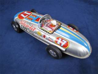 Vintage Tin Litho Friction Silver Jet #17 Race Car Toy
