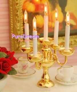 Dollhouse Brass Candelabra 5 Candles Table Light LAMP LD010