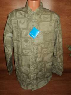 Mens Columbia Duck Hunting Dog Print Shirt Olive XL !!
