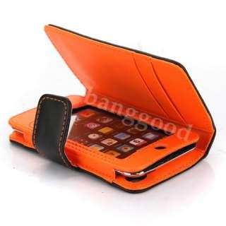 Orange Dot Flip PU Leather Card Holder Wallet Case Cover For iPod