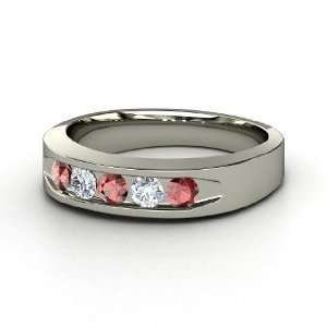 Quin Gem Culvert Ring, Sterling Silver Ring with Red Garnet & Diamond