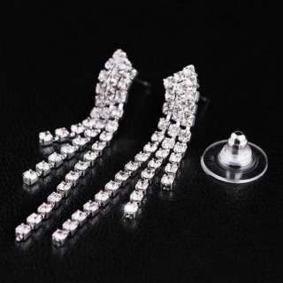 Elegant Wedding Bridal Necklace Earrings Set Czech Rhinestone Crystal