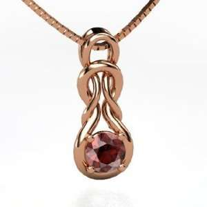 Forget Me Knot Pendant, Round Red Garnet 14K Rose Gold Necklace