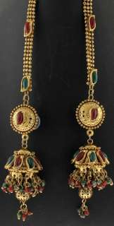 RUBY EMERALD INDIAN BRIDAL GOLD TONE NECKLACE EARRINGS SET