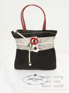 Prada Black Nylon & Leather Floral Trim Kimono Handbag