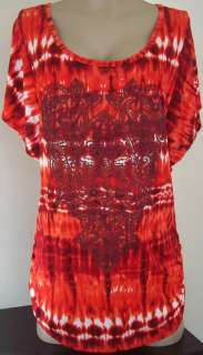 New Only Nine Womens Plus Size Clothing 2X Red Shirt Top Blouse 100%