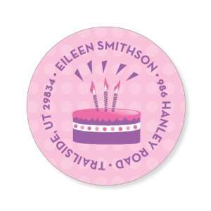 Cake Dots Pink Label Round Birthday Stickers