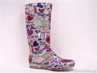 NIB New Coach Poppy Pixy Signature Heart Rainboots Rubber Boots Blue