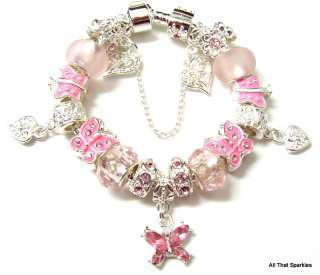 Pink Crystal Butterfly Heart Child Girls Charm Bead European Bracelet