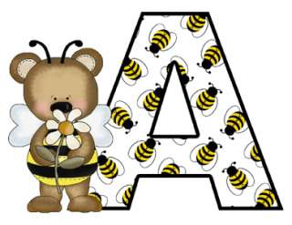 BEE BEAR ALPHABET LETTERS BABY NURSERY STICKERS DECALS