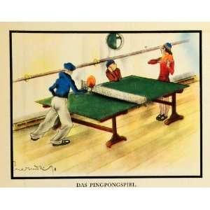 1932 Print Table Tennis Ping Pong Game Sport Portrait Art