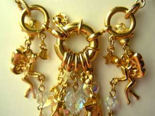 Vtg KIRKS FOLLY FAIRIES Charm Necklace FABULOUS