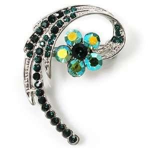 Fancy Emerald Green Crystal Daisy Brooch (Silver Tone