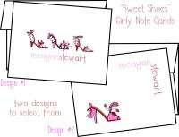 Personalized SWEET SHOES Girly Note Cards Stationery