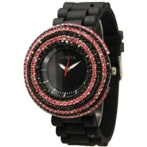 Pink Elegant Crystals Rhinestones Bling Silicone Rubber Jelly Watch
