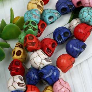 Colorful Howlite Turquoise Skull Loose Bead Charm 1Str