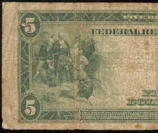 LARGE 1914 $5 DOLLAR BILL FEDERAL RESERVE NOTE Fr 855A OLD PAPER MONEY