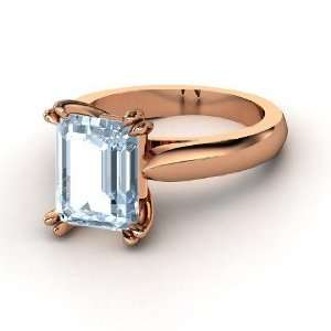 Julianne Ring, Emerald Cut Aquamarine 14K Rose Gold Ring