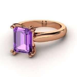 Julianne Ring, Emerald Cut Amethyst 14K Rose Gold Ring