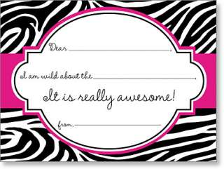 Zebra print fill in thank you notes pink and black zebra print thank