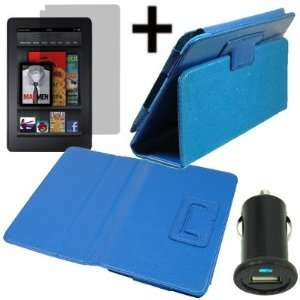 Kindle Fire + LCD + USB Car Charger Adapter Blue Electronics