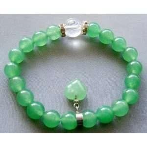 Green Jade Heart Sphere Beads Elastic Bracelet Everything