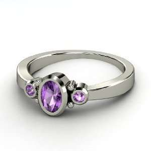 Kira Ring, Oval Amethyst 14K White Gold Ring Jewelry