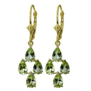 14k Solid Gold Leverback Earrings with Peridots Dangle Jewelry