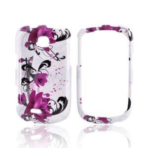 Pink Flowers on White Hard Plastic Case Cover For Samsung