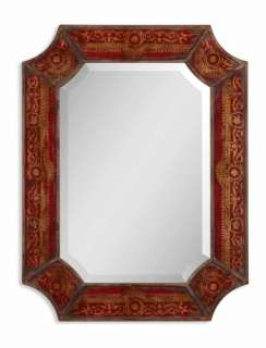 FRENCH COUNTRY Hand Painted Wood WALL MIRROR Chinoiserie Design Tuscan