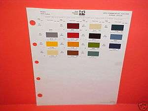 1979 DODGE TRUCK PAINT CHIPS COLOR CHART BROCHURE 79