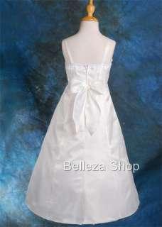 White Flower Girls Party Pageant Communion Dress SZ 8