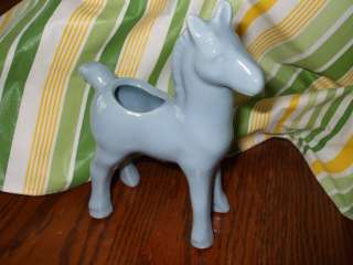 Vintage Morton Pottery Colt Horse Foal Blue Pony Small Planter Vase