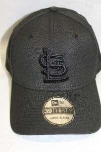 ST. LOUIS CARDINALS HAT CAP NEW ERA 39THIRTY BLACK ON BLACK