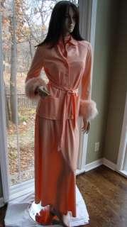 Rubin Collection 700 Coral Dress Jacket Fox Fur Cuffs sz small