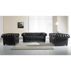 Vig Furniture Paris 2 Black Tufted Leather Sofa Set Home