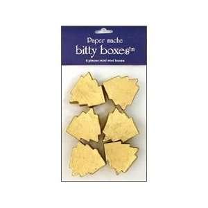 Craft Pedlars Paper Mache Box Bitty Tree Gold 6pc Arts