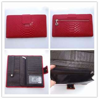 Womens Red Embossed Genuine Real Leather Wallet Purse Checkbook Card