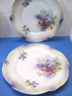 vtg Antique German Porcelain Fruit Lusterware Plates
