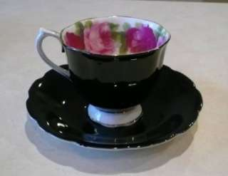 ROYAL ALBERT OLD ENGLISH ROSE BLACK 15 PIECE TEA & DESSERT SET